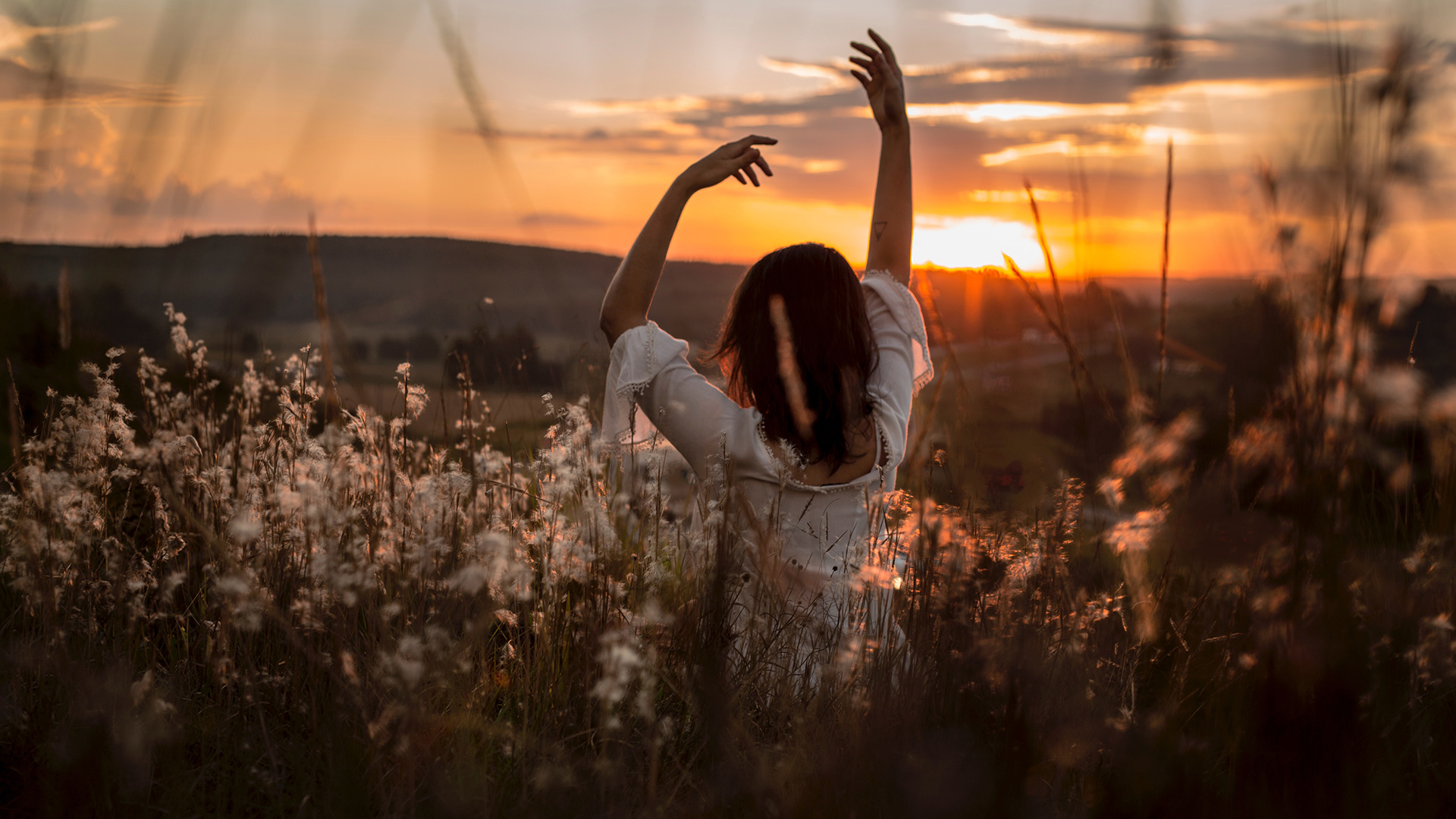 woman-wearing-white-dress-raising-her-two-hands-surrounded-white-petaled-flowers-during-sunset
